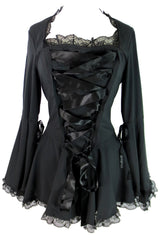 Victorian Gothic Steampunk Bell Sleeve Ribbon Lace Top - Skelapparel