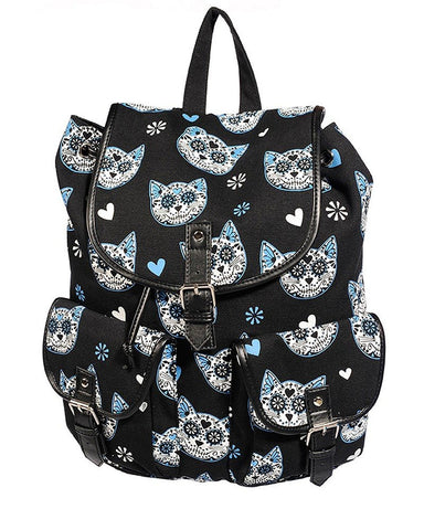 Blue Muertos Kitty Canvas Backpack - Skelapparel