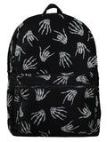 banned skeleton rock hand backpack