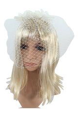 Vintage Inspired Bridal Party Flower Accent with Veil Net Pearl Headband - Skelapparel - 2