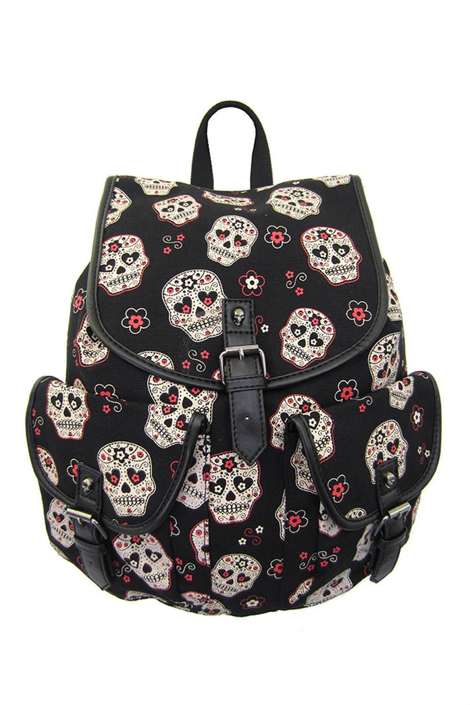 Banned Apparel Day of the Dead Muertos Flower Sugar Skull Canvas Backpack - Skelapparel - 1