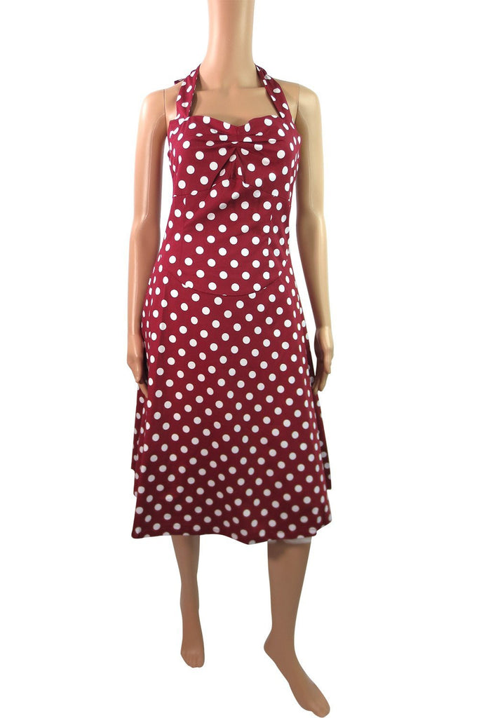 Retro Mod 60's Rockabilly Pinup Red & White Polka Dot Halter Dress - Skelapparel