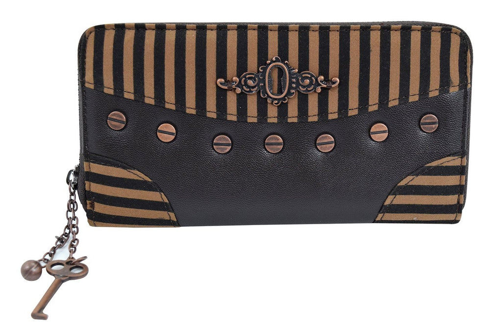 Banned Steampunk Brown Black Stripes Wild West Key Charm Zip Around Wallet - Skelapparel - 1