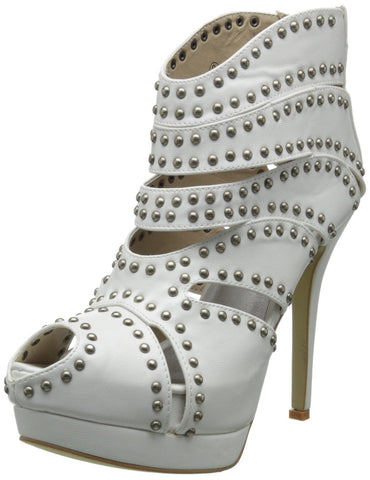 Rockabilly Love Studded Cut-out Peep-toe Platform Ankle Booties - Skelapparel - 1