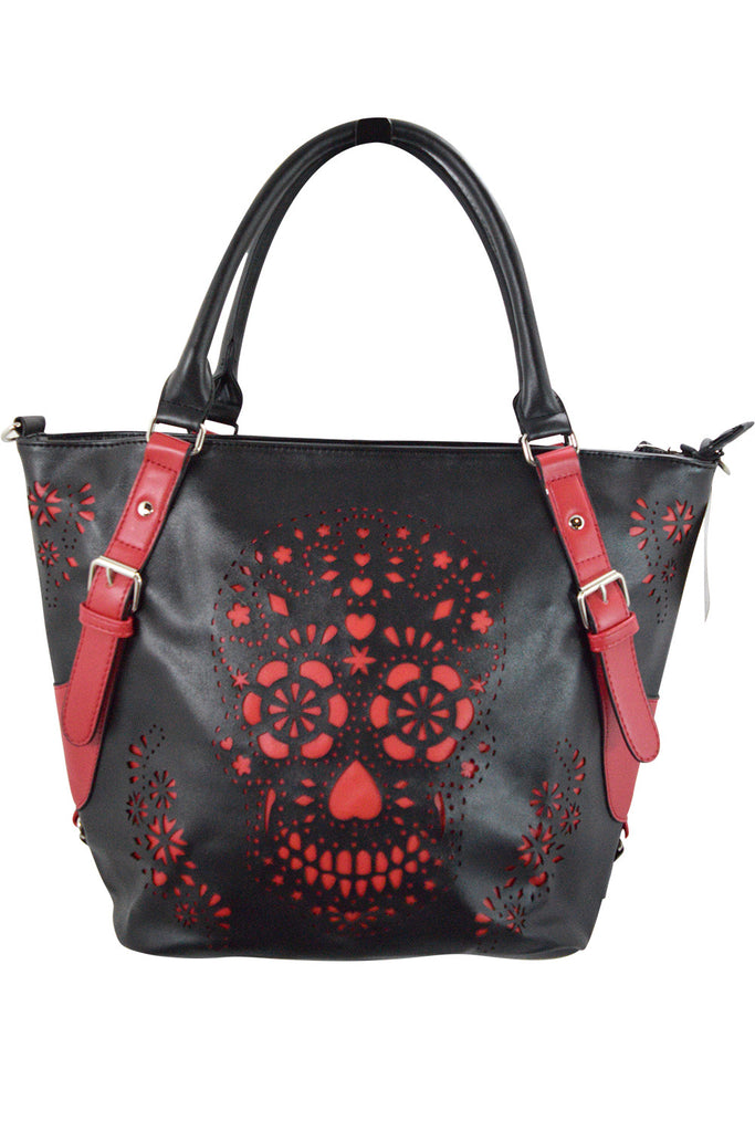 Banned Apparel Sugar skull Day of the dead Black & Red Laser Cut Design purse - Skelapparel