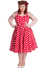 Hell Bunny 60's Red and White Polka Dots Halter Flare Party Dress - Skelapparel