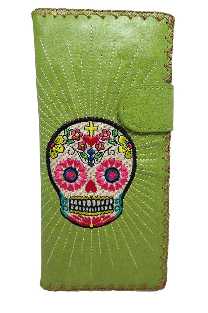 Mexican Sugar Skull Day of the Dead Embroidered Large Wallet - Skelapparel