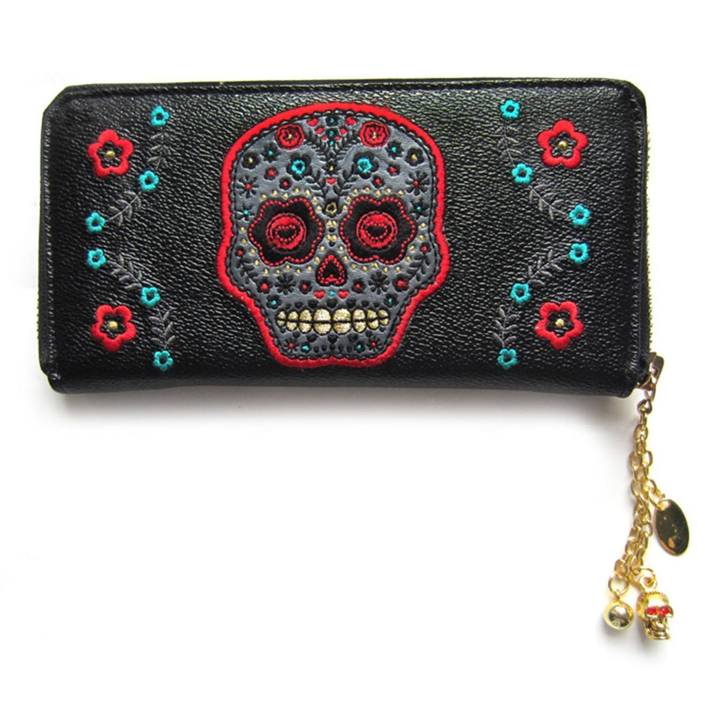 Banned Day of the Dead Flower Sugar Skull Embroidered Zip Around Wallet - Skelapparel - 1