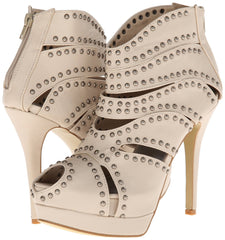 Caged Studded Cut Out Open Toe Stiletto High Heel Platform Ankle Booties - Skelapparel