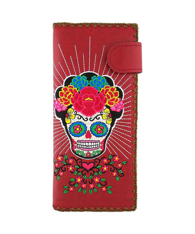 Lavishy Catrina Day Of The Dead sugar skull Embroidered Flat Large Wallet Gift