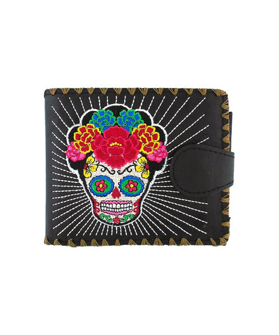 Lavishy Catrina Day Of The Dead sugar skull Embroidered Flat Medium Wallet Gift