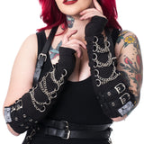 Poizen Industries Goth Punk Black Chains and Straps Armwarmers Sleeves