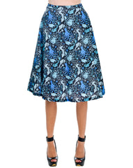 Blue sea A line Midi skirt