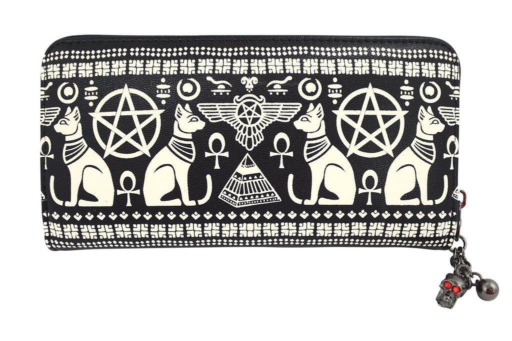 Lost Queen Anubis Gothic Egyptian Cat Pyramid Occult Goth Zip Around Wallet - Skelapparel