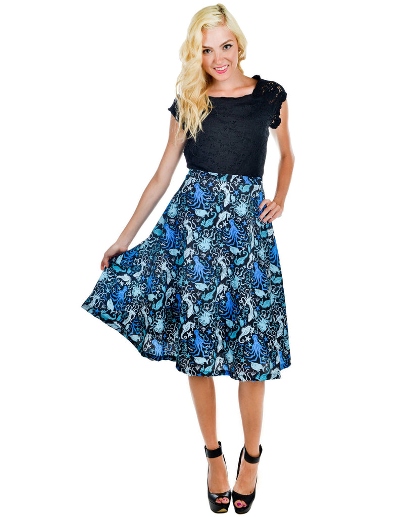 Gothic Octopus print blue skirt