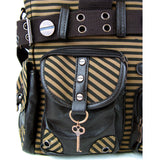 Banned Vintage Steampunk Brown Striped Belted Key Charm Handbag - Skelapparel