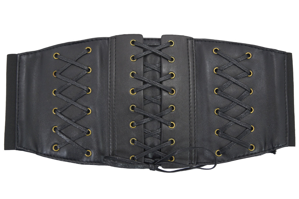 Steampunk Black Corset Lace Up Wide Elastic Belt Waistband Cinch - Skelapparel - 1