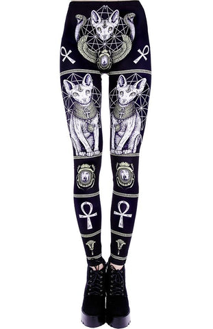Bastet Sphynx cat print leggings