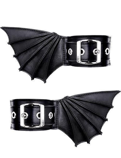 Bat Wings Cuffs Batwings Cuffs Black Gothic Bat Bracelets with Bat Wings Bat wings anklets - Skelapparel