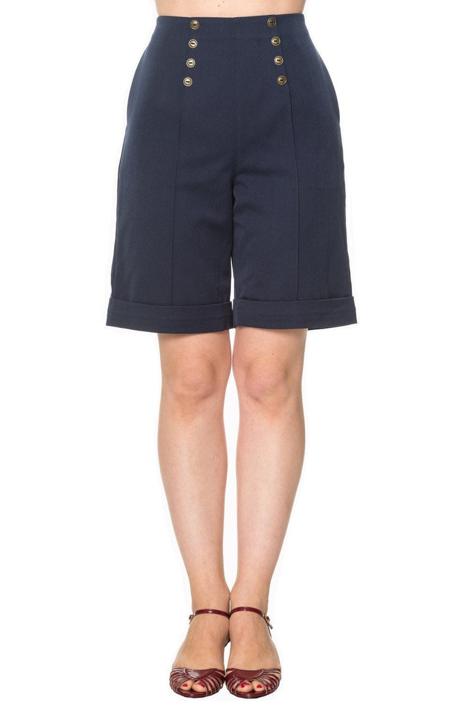 50's Vintage Sailor High Waist Double Buttoned Weekender Bermuda Shorts - Skelapparel