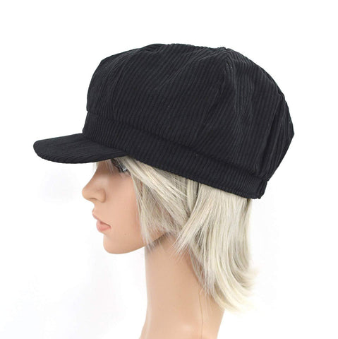 Black Faux Wool Thick Panel Bohemian Chic Newsboy Cabbie Cap Hat - Skelapparel