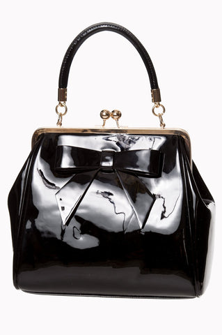 Retro Vintage 50s American Vintage Kiss Lock Bow Shiny Patent Leather Purse - Skelapparel