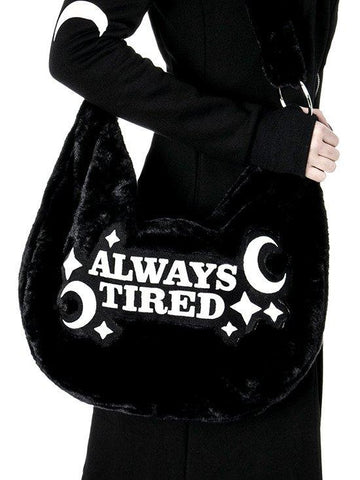 Restyle Moon Witch Always Tired Faux Black Fur slouchy hobo bag crossbody