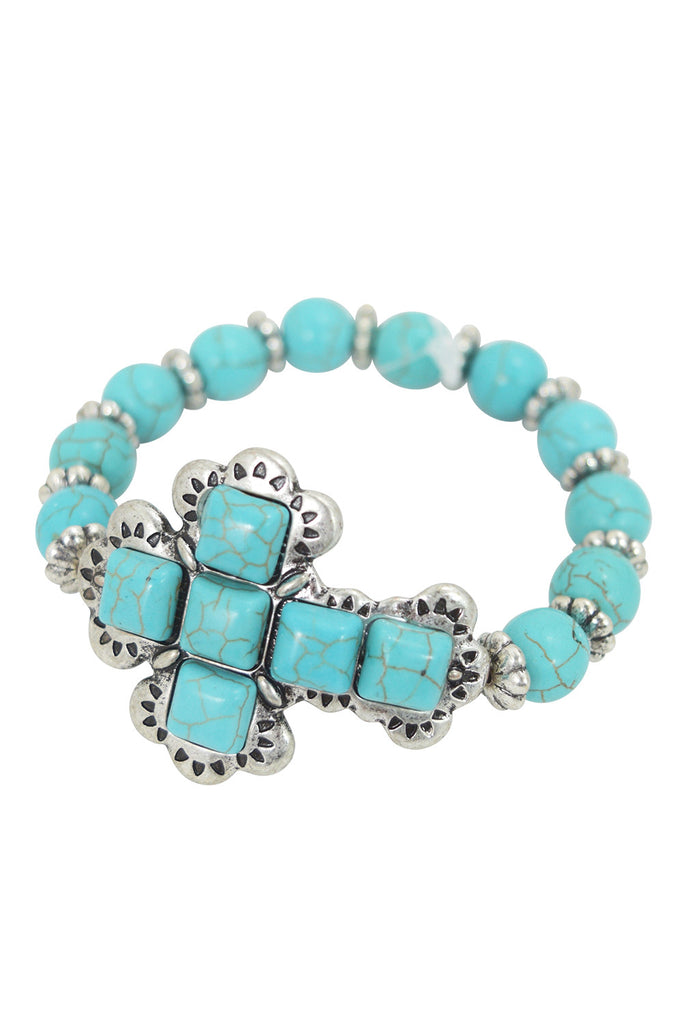 Western Aztec Turquoise Stone Cross Beaded Stretch Bracelet - Skelapparel