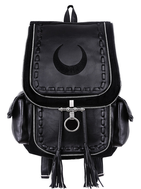 Restyle Gothic Witch Crescent Moon Embroidered Black Denim Backpack - Skelapparel