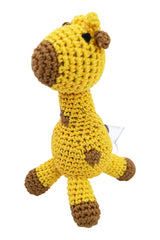 Dog Teeth Cleaning Cotton Crochet Squeaky Dog Toy for Small Dog - Giraffe
