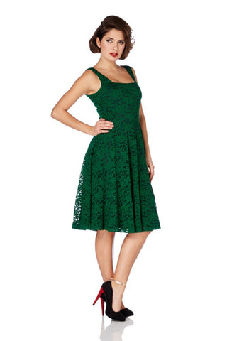 Vintage Inspired 60's Victorian Green Rose Lace Flare Party Dress - Skelapparel
