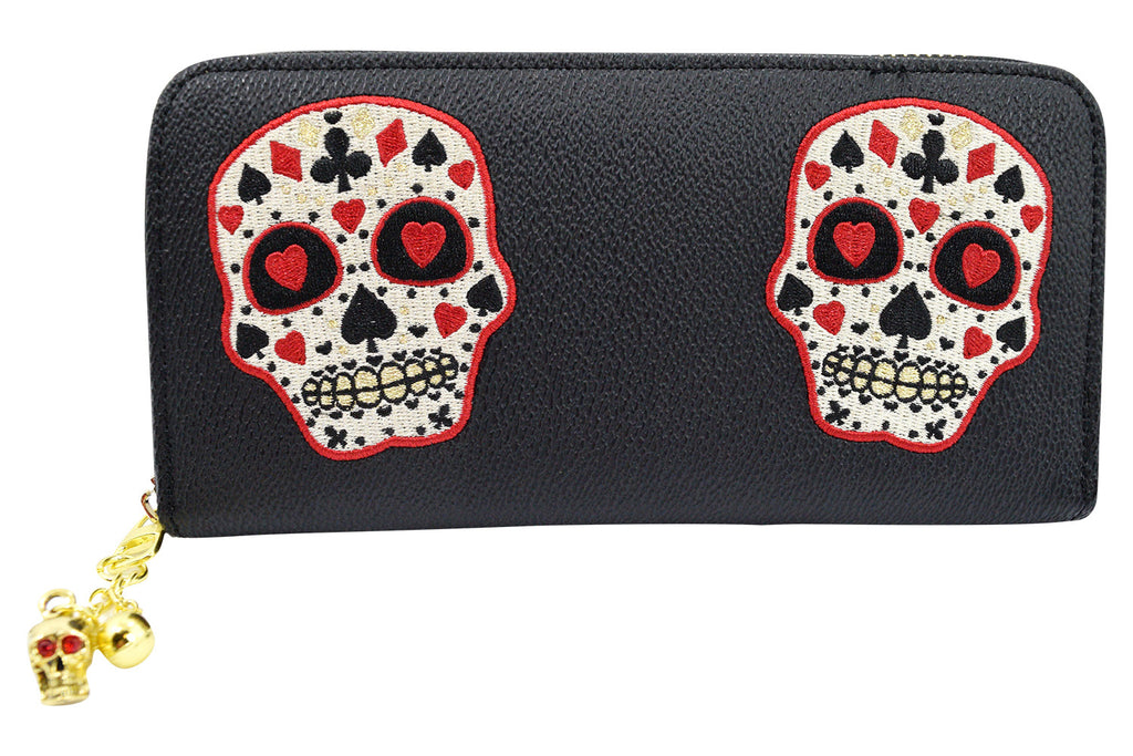 Banned Apparel Rockabilly Deck of Cards Skull Embroidered Zip Around Wallet - Skelapparel