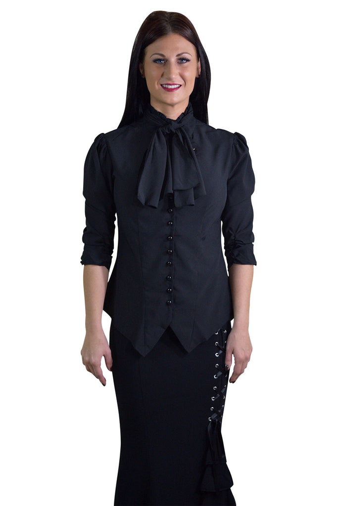 Gothic Victorian Steampunk Black Ruffle Tie Neck Rutched Sleeve Blouse - Skelapparel