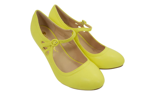 60's Retro Vintage Pinup Mary Jane Lemon Yellow Faux Leather Cut Out Pumps - Skelapparel
