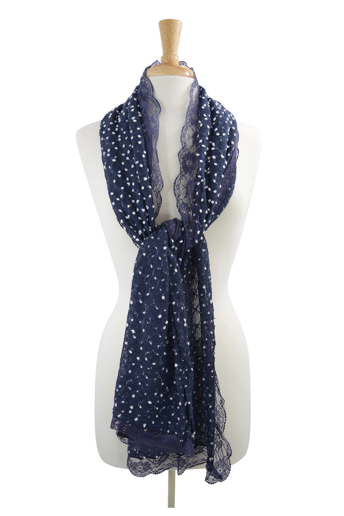 Lolita Love Mesh Knit Mini Dots and Lace Trim Fashion Scarf - Skelapparel