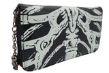 Gothic Skeleton Ribcage Glow in the Dark Zip Around Wallet - Skelapparel