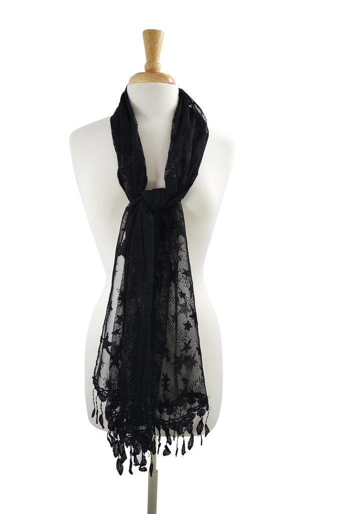 Rockabilly Star Night Stars Burnout Lace Fringes Scarf Shawl - Skelapparel