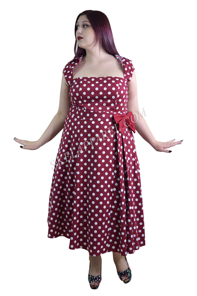 60's Vintage Retro Rockabilly Pin-up Red and White Polka Dot Belted bow Party Dress plus size - Skelapparel
