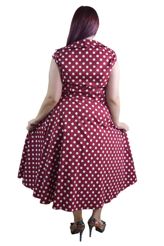 60\'s Vintage Retro Rockabilly Pin-up Red and White Polka Dot Belted ...