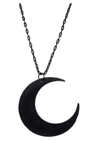 Goth Occult Gothic Luna Large Crescent Moon Matte Black Occult Witch Necklace - Skelapparel