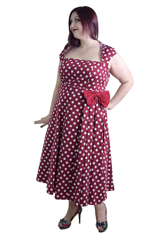 60\'s Vintage Retro Rockabilly Pin-up Red and White Polka Dot Belted bow  Party Dress plus size