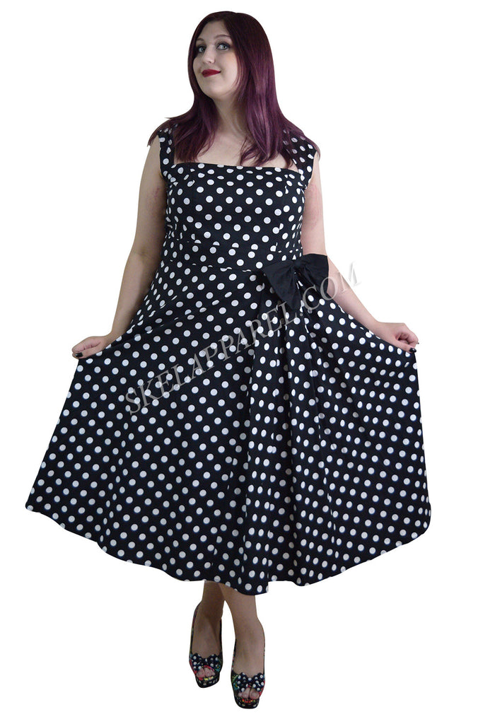 Plus Size 60's Vintage Polka Dot Belted Bow Swing Party Dress - Skelapparel