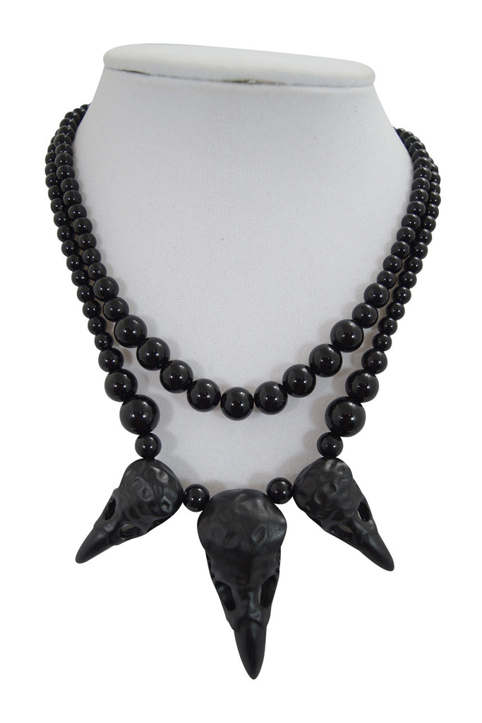 Restyle Gothic crow skulls Raven Talisman Alchemy Gothic black beaded Necklace - Skelapparel