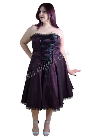Plus Size Gothic Rockabilly Purple Satin Corset Lace-up Dress - Skelapparel