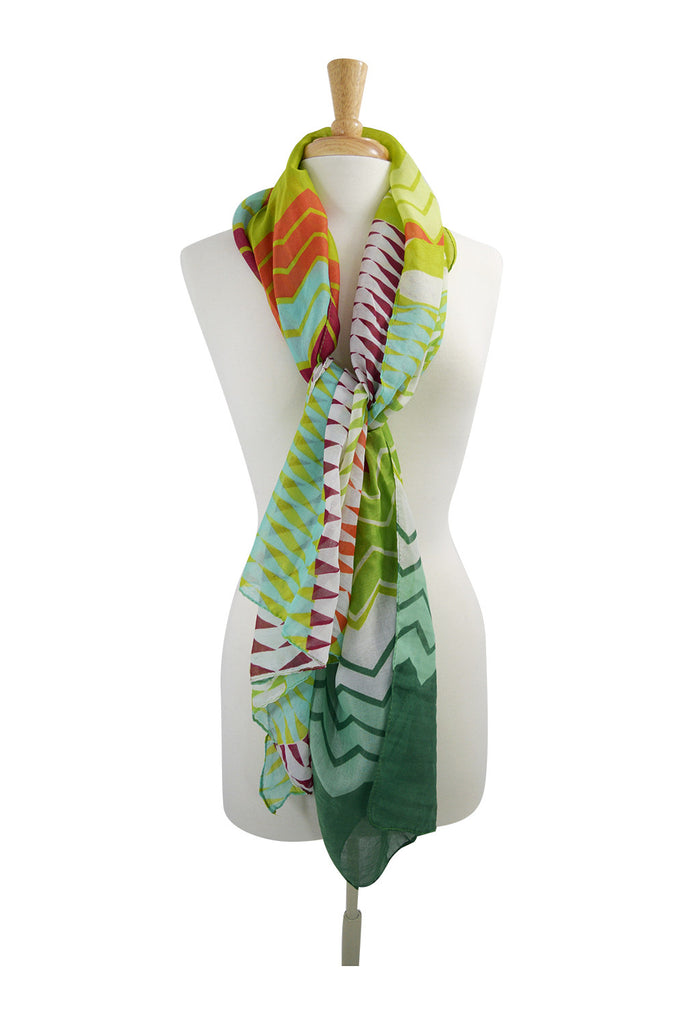 Mexican Aztec Pattern Boho Light Weight Scarf (Green) - Skelapparel - 1