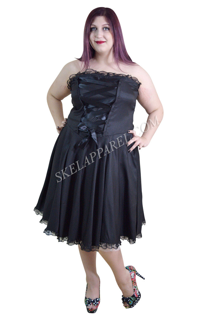 Plus Size Gothic Rockabilly Black Satin Corset Lace-up Dress - Skelapparel - 1