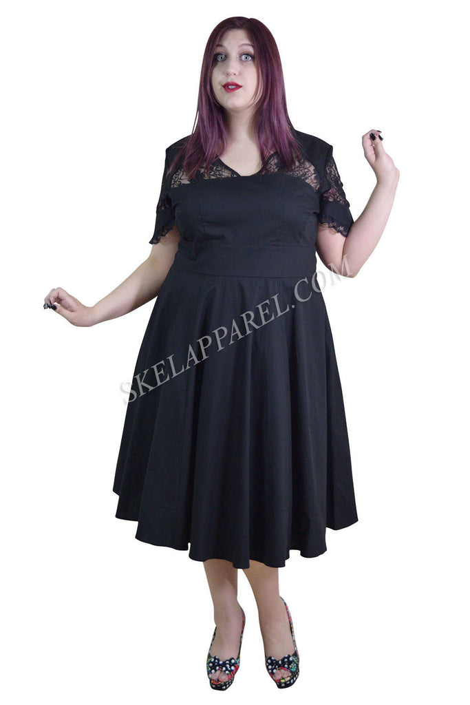 Plus Victorian Vintage Lace Insert Goth Elegance Black Flare Party Dress - Skelapparel - 1