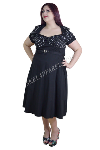 60's Vintage Inspired Plus Size Vintage Retro Design Polka Dot Flare Party Dress - Skelapparel