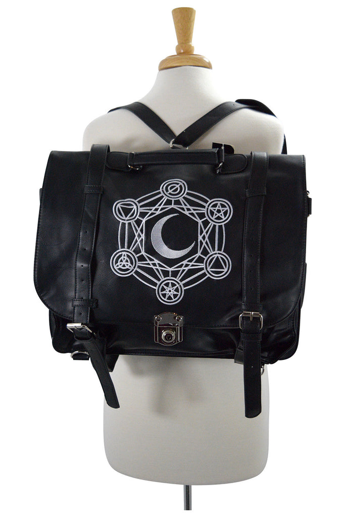 Restyle Gypsy Gothic Dark Magic Witchcraft Moon Messenger Expandable 3 Way Bag - Skelapparel