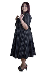 Plus Size 50's Retro Design Polka Dot Party Swing Dress - Skelapparel